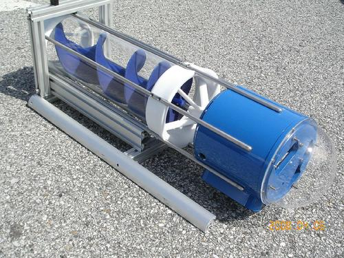 Photo of HydroCoil in-line, helical, portable, micro-hydro turbine.